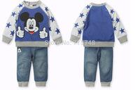 2015 Boys Mickey jeans suit Autumn clothing new cartoon long-sleeved t-shirt + pants 2pcs / set Leisure Suit