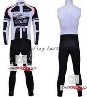 Free shipping! BMC 2011 long sleeve autumn bib cycling wear clothes bicycle bike cycling jersey bib pants set+gel pad