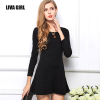 Women Long Sleeve Dress S-L Plus Size Casual Slim High Waist tutu Dresses Candy-Colored European Style Vestidos Femininas SPS214