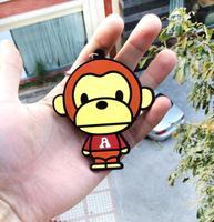10pcs/lot Bape ape baby Milo cartoon key ring Keychains pendant fashion jewelry wholesale gift