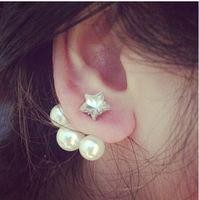 New Fashion Double Side  Big Pearl Earrings  Shining Stud Earrings For Women C30R8C