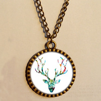 Wholesale 6$ Colorful Deer Necklace head Colour abstract Art Glass Pendant Jewelry Chain Gift Vintage lot