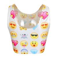 Newest Fashion Women 2015 3D O-neck Short Funny Emijo Print Crop Top Funny Tank Short For Girl