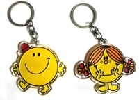 10pcs/lot MR.MEN and LITTLE MISS Acrylic cartoon keychains wholesale pendant fashion jewelry gift