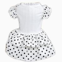 Dog Dress Princess Summer 2015 New Pet Suppies Cotton White Black Dot Dresses XS Bride Dress Puppy Pet Cat Dog Clothes vestidos
