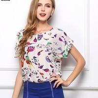 20 styles 2015 New spring women blouses fashion Chiffon batwing sleeve Floral shirt Women Clothing blusas femininas S-XXL  W3