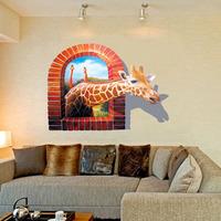 Creative Vintage Cartoon 3D Window Giraffe Wall Sticker Mural Vinyl Wallpaper for Home Decoration