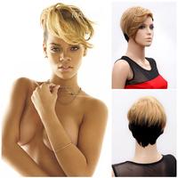 NAWOMI Wig 100%KANEKALON Lady Woman Hairpiece Black and Gold Straight Short Rihanna Hair Mix Color Mixed Fanshion Girls W3790