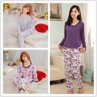 Free Shipping New Spring Autumn Fashion Sweet Rose 100% Cotton HomeWear Long Sleeve 3-pieces Women Pajamas set  Pink Grey Purple