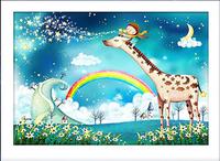 5d diamond painting cross stitch embroidery kit cartoon animals pictures of crystals round rhinestones girl giraffe bear gift