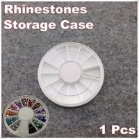 1 Piece White Plastic Empty Wheel Box Case For Nail Art Gems Rhinestones Storage Case + Free Shipping (NR-WS85)