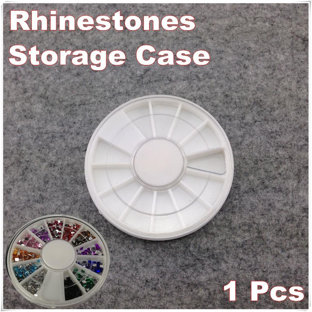 1 Piece White Plastic Empty Wheel Box Case For Nail Art Gems Rhinestones Storage Case + Free Shipping (NR-WS85)(China (Mainland))