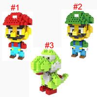 LOZ Super Mario Luigi Yoshi diamond blocks models building toys educational blocks children gift 3styles 12pcs/lot free shipping
