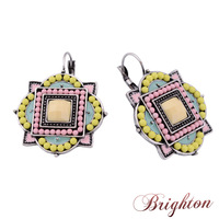 Vintage Jewelry Fashion Design Silver Plated Square Pendant Colourful Beads Ethnic Style Charm Women Clip Earrings