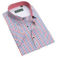 2015 summer fashion men shirts short sleeve casual plaid formal shirt for men male social dress shirts camisas