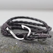 LOW0077LB 2015 New Fashion Jewelry Leather DIY Bangles Hooks Hope Letter Bracelet Leather Vintage Male Bracelets Free Shipping(China (Mainland))