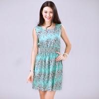 2015 Spring Summer Autumn New Korean Women Casual Dress Bohemian Floral Sleeveless Vest Printed Beach Chiffon Dress S-XXL B16