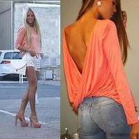 2015 New Trends Women Lady Sexy Long Sleeve Backless Cross-fold Shirt Blouse Top T-Shirt Blouses Tshirt