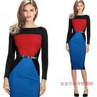 fashion women's business work dress long-sleeve slim hip slim one-piece dress Splice