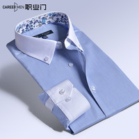 Male long-sleeve shirt slim commercial the trend floral print collar blue casual shirt