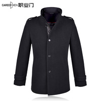 Winter medium-long 2014 slim easy care overcoat single breasted business casual Men outerwear