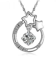 Fashion Women Jewelry 925 Sterling Silver Star Pendant Necklace Shiny Austrian Crystal Zircon Wedding Necklace  Wholesale