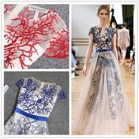 Fashion women's evening dress embroidery slim short sleeve length one-piece dress
