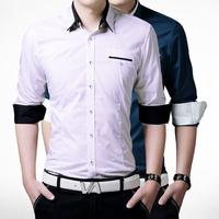 2015 New Fashion Mens Shirts Business casual cotton Long-sleeve slim fit Dress Shirt men, 5 colors Plus size M-XXXL