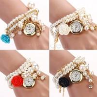 Hot Sell Women Casual Watches Rose Flower Faux Pearl Round Dial Quartz Elegant Dress Bracelets Wrist Watch b4