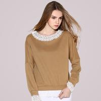 Free Shipping 2015 Spring lace decoration t-shirt  Maix Size, Ladies  long-sleeve fashion Loose Tops khaki/black XL 2XL 3XL 4XL