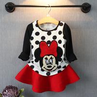 Spring Baby Girl Minnie Dress Set Cotton Autumn child pijama infantil costume Dot/White/pink shirt+skirt/set vestidos filha