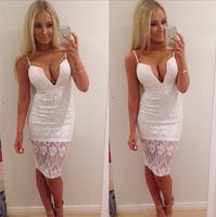 Woman Sexy white Lace gallus dress strapless sleeveless Sexy Club dresses