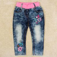 New arrival Girls jeans spring antumn Nova kids wear embroidered flower pants for girls child G5130