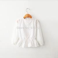 New 2015 Children Clothing Girls Shirt White Lace Baby Girls Top Wear Long Sleeve Children Shirts
