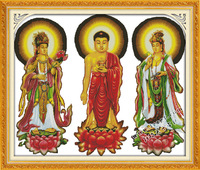 New Arrival precise printed fabric cross stitch kit for home decoration 3 Buddha embroidery 11ct needlework set unfinished