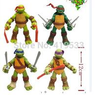 Free Shipping NEW HOT 4 pieces/set 13cm Anime Cartoon TMNT Teenage Mutant Ninja Turtles PVC Toy Action Figure Toys Dolls