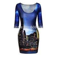 2015 new Tight dress Digital printing pattern skirt Sleeve dress package hip dress
