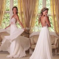 Free Shipping Spaghetti Straps Wedding Dress 2015 A line Bridal Gowns Noiva Flowing Chiffon Bohemian Lace Wedding Dress