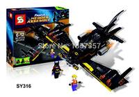 Original Box Batwing Famous Heroes Assemble SY316 Building Blocks Sets Model Toys For Children Lego Compatible