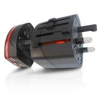 50pcs/lot Universal International Travel charger Adapter Adaptor Convertor with Dual (2) USB Port Plug