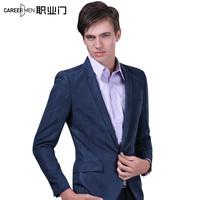 Autumn suit blazer jacket male slim blue casual fashion single