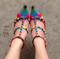 Multicolour Rivet Stripe Brand 1:1 Genuine Leather Ladies Designer High Heels Sandals Valentine Sexy Rainbow Big Pumps Shoes