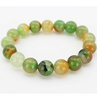 Free shipping Natural 6-12MM Apple green agate bracelet genuine beauty noble ladies crystal chalcedony gem beads not dyed  2015