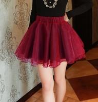 2015 Women Skirts Spring Summer  Skater Skirt Casual Bright Color Pleat Mini Skirts Saia Femal Girl