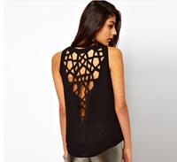 2015 Celebrity Style Sexy Black Baroque Cut Out Hollow Back Cotton Women  Shirts Vest Plus Size M-XXL