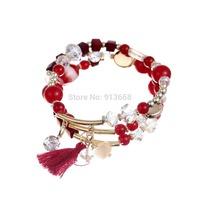 hot selling 2015 Bohemia Style Beads Multilayer Bracelet Acrylic Red Beads Tassel Bracelets / bangle  For Woman