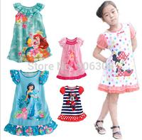 2015 New Fashion Children Clothing Cartoon Pattern Girls Dress  Princess Ruffles Dresses Baby Clothes
