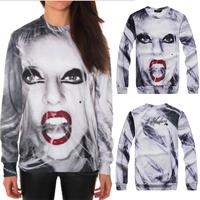 [Magic] Hot model Lady gaga 3d sweatshirt women hoodies long sleeve round neck casual sweatshirts size S-XL free shipping