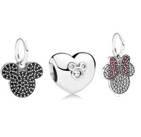 925 Sterling Silver Charm and Bead Jewelry Sets Fit European Bracelets Necklaces & Pendants -Sparkling Minnie & Mickey Sets