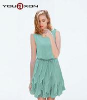1275 YouAxon Ladies Summer Casual Elegant Green Ruffle Pleated Office Chiffon Sundress Mini Dresses for Women a+ Dress